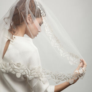 Cut Out Geometric Silk Edged Veil