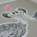 Flamingos In Love Grey and Pink Closeup