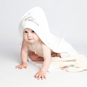 Personalised White Baby Hooded Towel - personalised gifts for babies