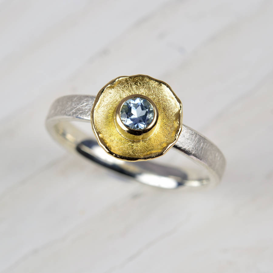 silver and 18ct gold aquamarine ring by mh goldsmith ...