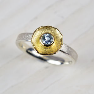 Silver And 18ct Gold Aquamarine Ring