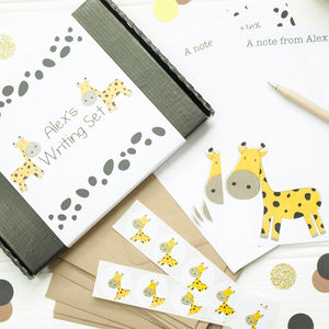 Personalised Children's Giraffe Writing Set