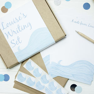 Personalised Sea Waves Writing Set - writing paper