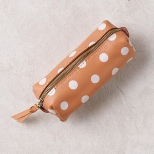 Polka Dot Leather Makeup Bag