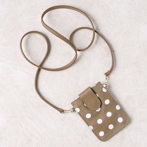 Polka Dot Leather Mobile Phone Pouch