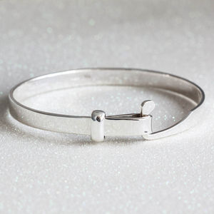 Sterling Silver Loop Clasp Bangle - gifts for her