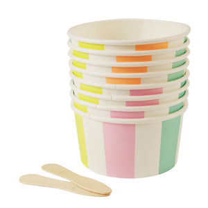Eight Pastel Stripes Ice Cream Cups And Spoons