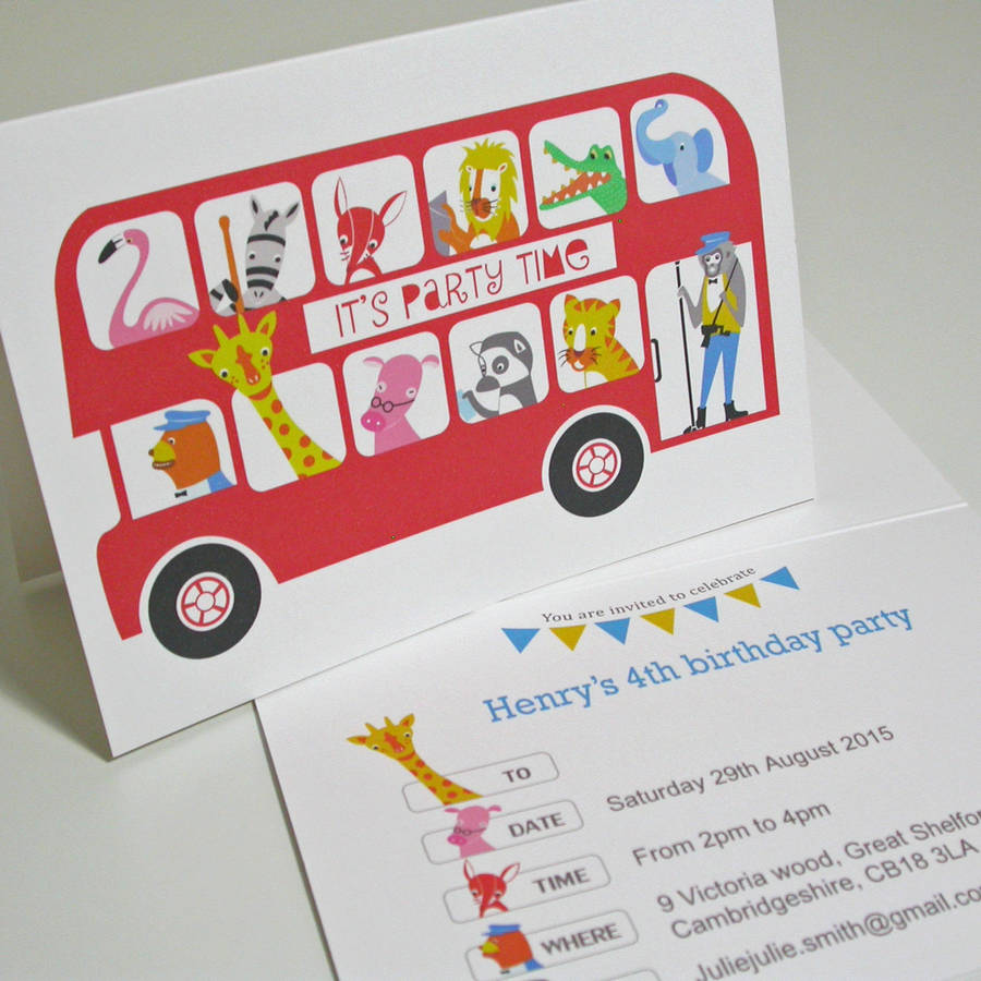 personalised london bus party invitation by moonglow art