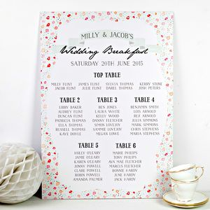 Floral Keepsake Wedding Seating Plan - table decorations