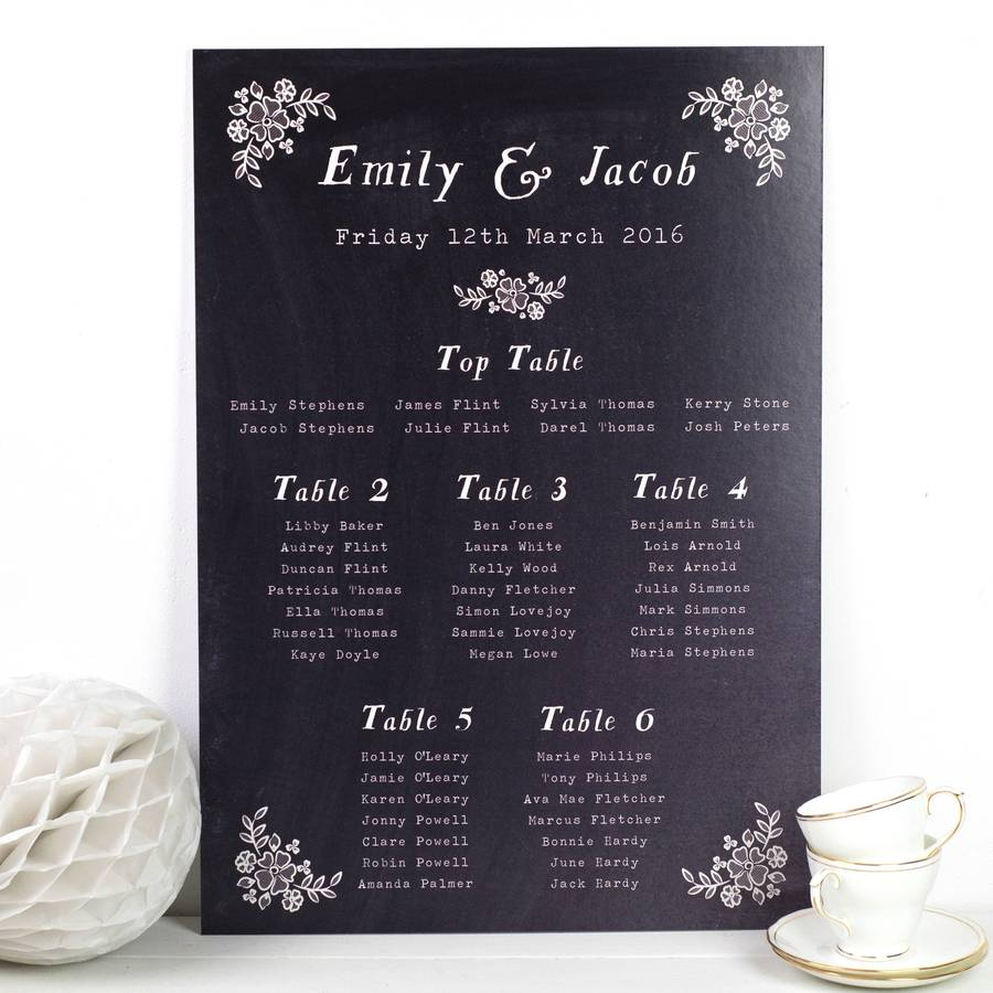 Chalkboard Wedding Seating Plan By Nina Thomas Studio