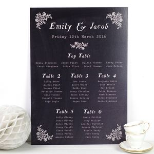 Chalkboard Wedding Seating Plan - table decorations