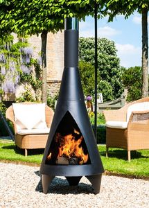 Black Steel Colorado Chiminea Contemporary Patio Heater