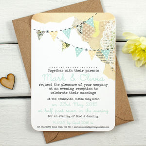 Country Bunting With Gems And Pearls Evening Invite - invitations