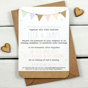 Burlap Bunting With Gems And Pearls Evening Invite - new in home