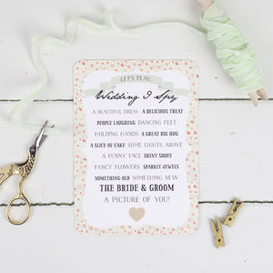 Floral Keepsake I Spy Game - wedding day activities