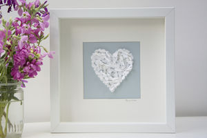 Romantic Butterfly Love Heart Picture White