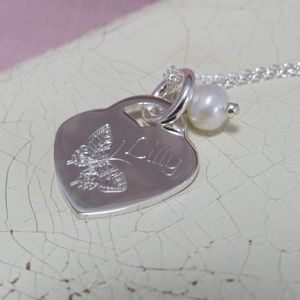 Personalised Sterling Silver Butterfly Heart Necklace - more