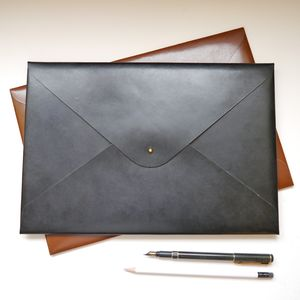Classic Personalised A4 Leather Document Folder - office & study