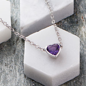 Silver Amethyst Heart Necklace - birthstone jewellery gifts