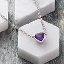 Silver Amethyst Heart Necklace
