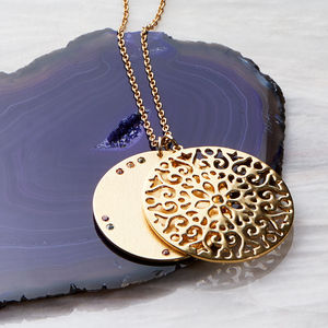 Multicoloured Sapphire Large Gold Vermeil Pendant - 60th birthday gifts