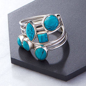 Turquoise Silver Stacking Ring - stack and style