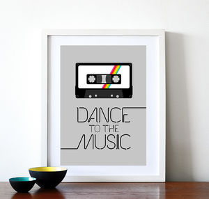 'Dance To The Music' Retro Rainbow Cassette Print - music-lover