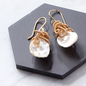 Keshi Pearl Drop Earrings - gifts for her