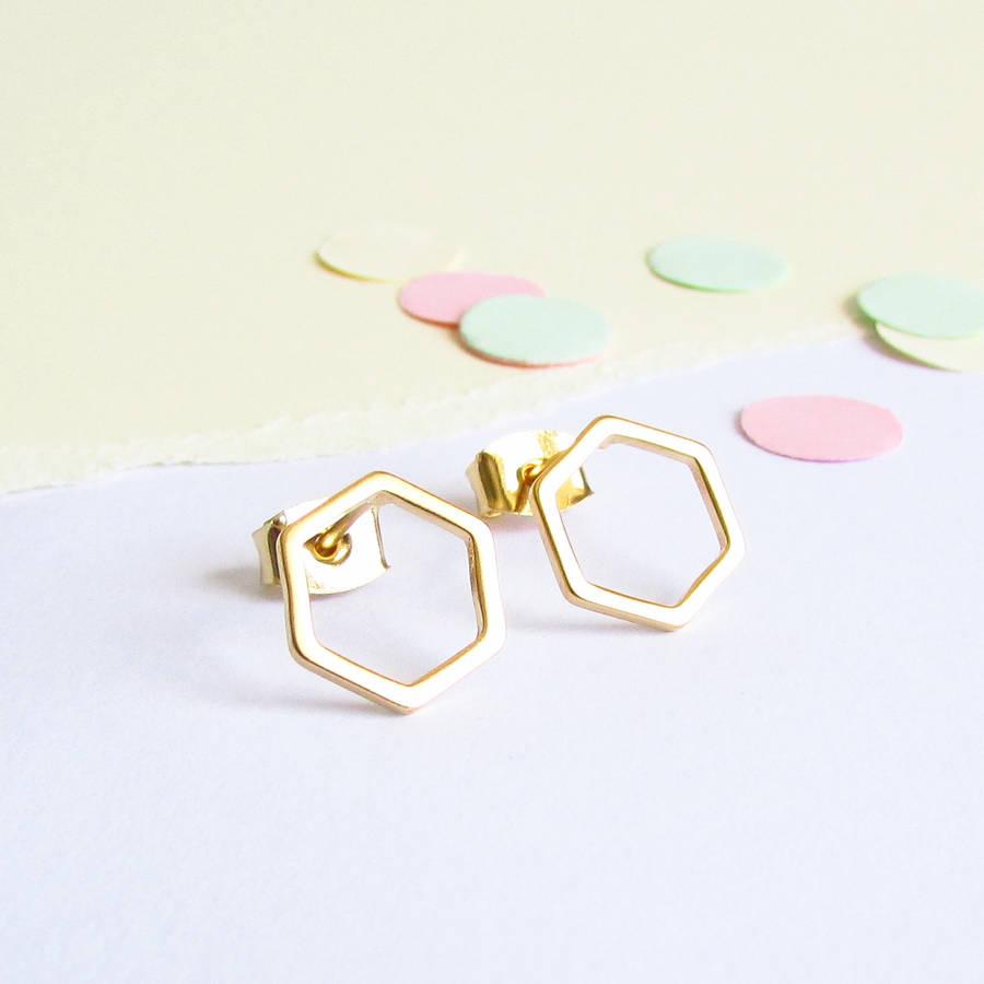 hexagon gold stud earrings by evy designs | notonthehighstreet.com