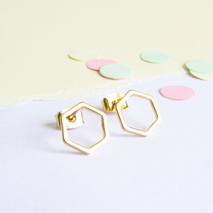Hexagon Gold Stud Earrings - earrings