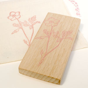 Botanical Buttercup Hand Carved Rubber Stamp - ribbon & wrap