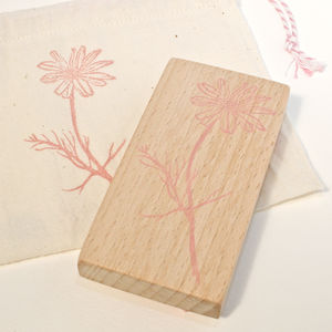 Botanical Chamomile Hand Carved Rubber Stamp
