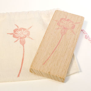 Botanical Corncockle Hand Carved Rubber Stamp