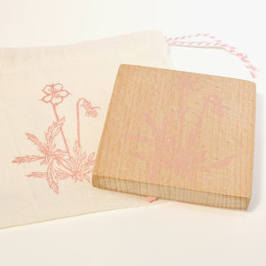 Botanical Pansy Hand Carved Rubber Stamp
