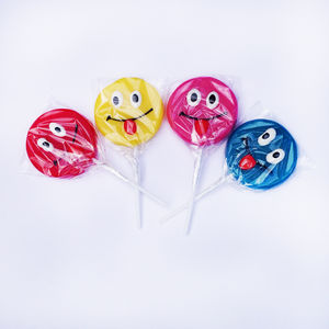 Set Of Four Smile Face Lollipop - sweet treats