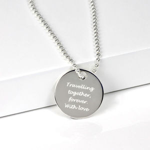 Personalised Silver Round Dog Tag Pendant - necklaces