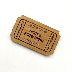 Magnetic Save The Date Wooden Tickets - save the date cards