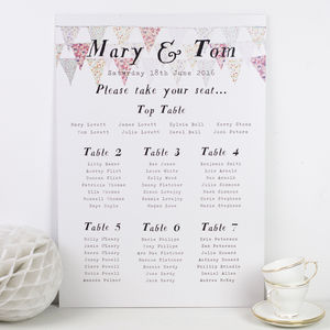 Pastel Bunting Wedding Seating Plan - room decorations