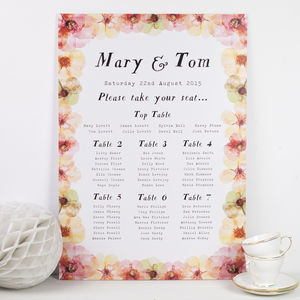 Watercolour Wilderness Wedding Seating Plan - table plans