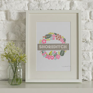 Personalised Floral Tube Screen Printed Wall Art - maps & locations