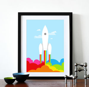 Rainbow Space Rocket Retro Print