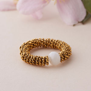 Gold Stretch Cocktail Ring - rings