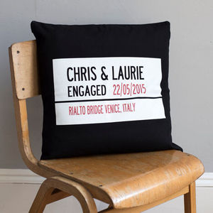 Personalised Street Sign Engagement Cushion Cover - engagement gifts