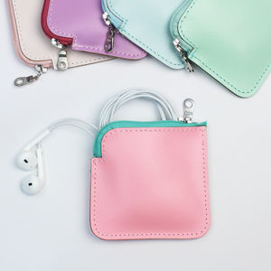 Leather Ear Pod Pouch - pastel accessories