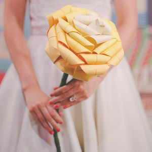 Giant Paper Origami Rose Wedding Bouquet - bold florals
