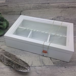 "White Wood And Glass ""Jewellery"" Box - jewellery storage & trinket boxes"