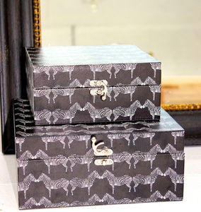 Set Of Two Zebra Printed Storage Boxes