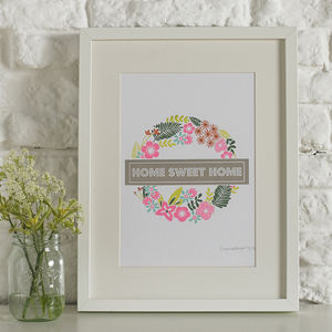 'Home Sweet Home' Floral Screen Printed Wall Art