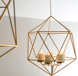 Hexagonal Gold Hanging Candle Holder - home accessories