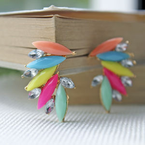 Rainbow Colour Earrings - statement jewellery